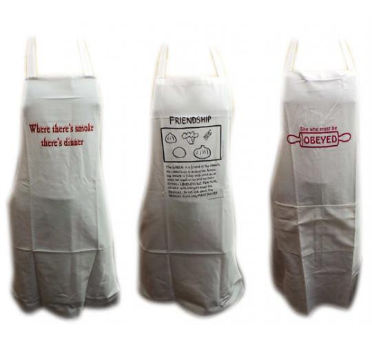 One Off Joblot of 28 Mixed Chefs Slogan Aprons 4 Styles Available White