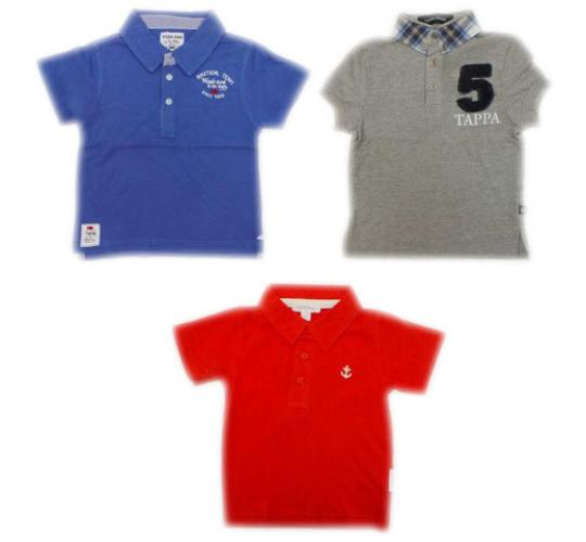 One Off Joblot of 12 Boys Branded Polo Shirts 3 Styles Mix of Sizes