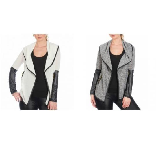 One Off Joblot 81 Ladies PVC Look Long Sleeve Cardigan 2 Colours Available