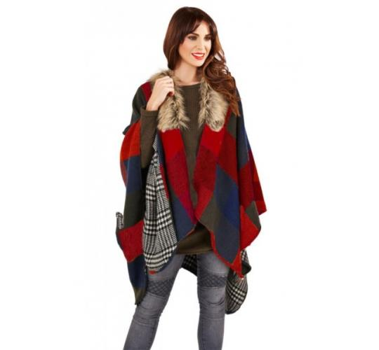 One Off Joblot Of 23 Ladies Red Check Cape Faux Fur Collar Poncho Wrap