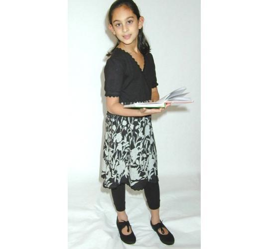 Girls Grey Brush Knit Dolly Dress & Grey Lurex Print Puff Sleeve Dress