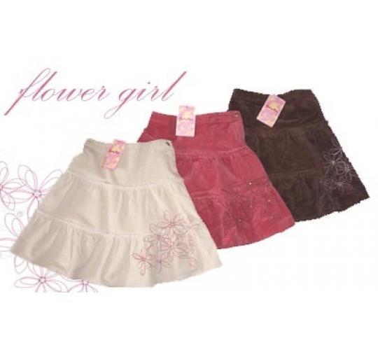 Girls Corduroy Skirts & Embroidered T-Shirts