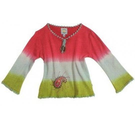 Girls Dip Dye Paisley Embroidered T-Shirt