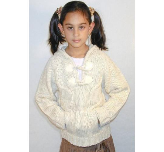 Girls Hooded Toggle Neck Sweater