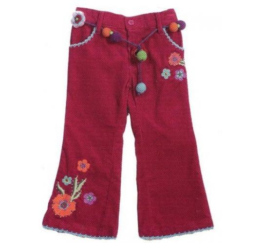 Girls Flower Embroidery Trousers & Fine Knit Top