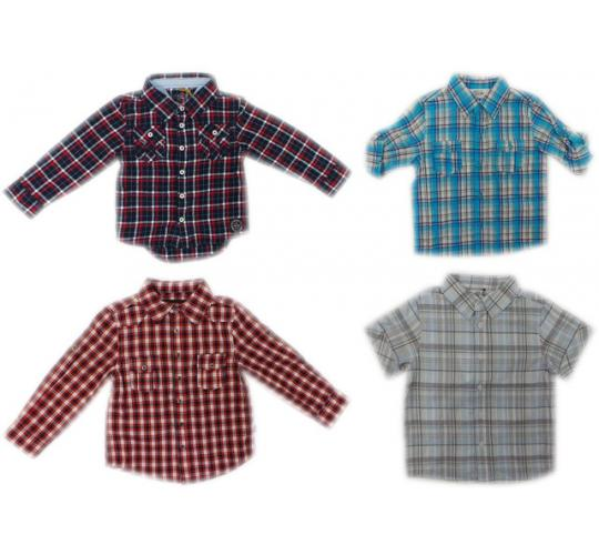 One Off Joblot of 23 Boys Assorted Branded Check Shirts 5 Styles