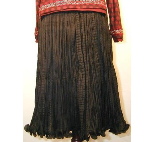 Ladies Crinkled Shot Silk Skirt (Black) by Rohit Bal