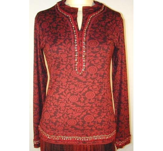 Long Sleeve Embroidered V-Neck Lycra Tunic (Red) by Rohit Bal