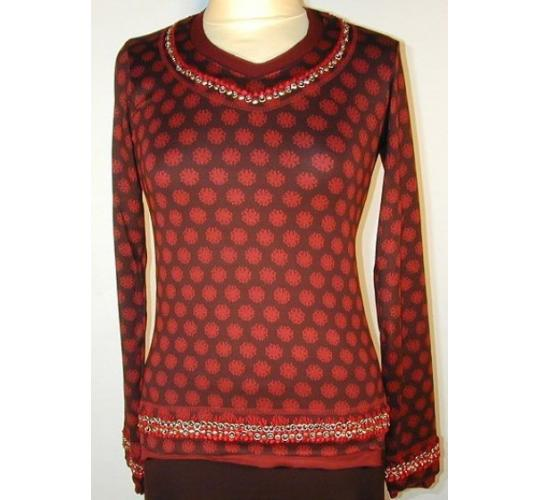 Long Sleeve Embroidered Round-Neck Lycra Tunic (Red) by Rohit Bal