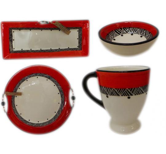 One Off Joblot of 35 Limpopo Red/Black Ceramics Platters, Plates, Mugs Etc