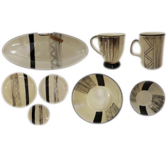 One Off Joblot of 22 Limpopo Etch Ceramics Oval Plates, Mugs, Dinner Plates Etc