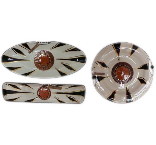 One Off Joblot of 18 Limpopo Gold Wheel Ceramics Oval Platters, Bread Plates Etc