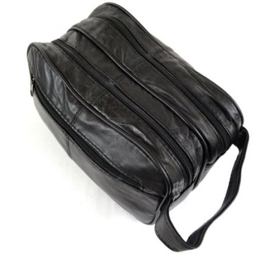 Mens Large Soft Black Leather Toiletry Wash Bag Travel Toiletries Double- 192 pieces