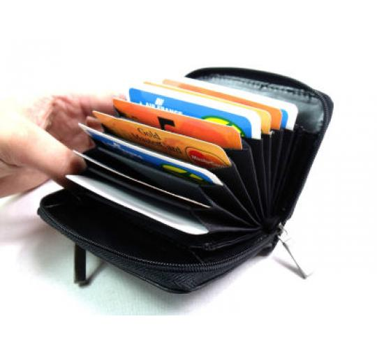 JOB LOT LUXURY SOFT BLACK REAL LEATHER CONCERTINA STYLE CREDIT CARD HOLDER - 192 pieces