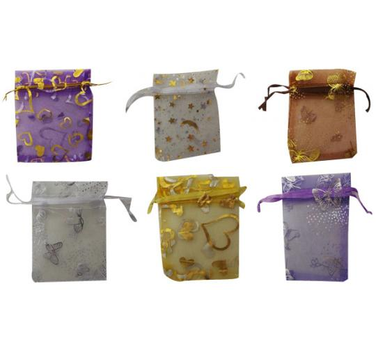 Wholesale Joblot of 100 Organza Jewellery Bags Mixed Colours & Designs