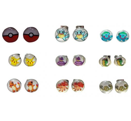 Wholesale Joblot of 50 Pairs of Assorted Pokemon Studded Earrings
