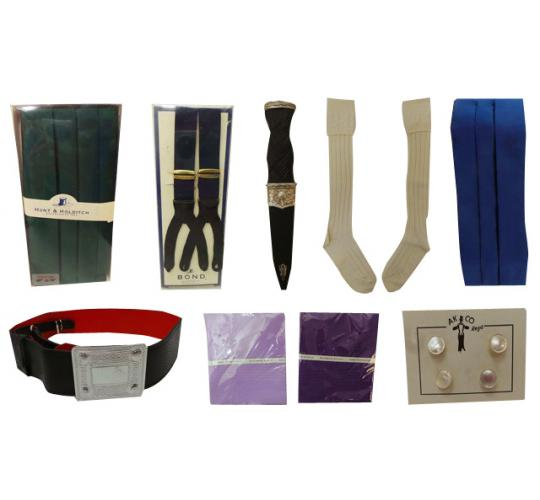 Joblot of 59 Assorted Wedding Items Cummerbunds, Braces, Belts, Handkerchiefs