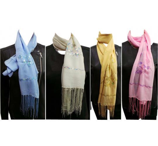 Wholesale Joblot of 24 Ladies Flower Sequin Decorated Scarves 5 Colours