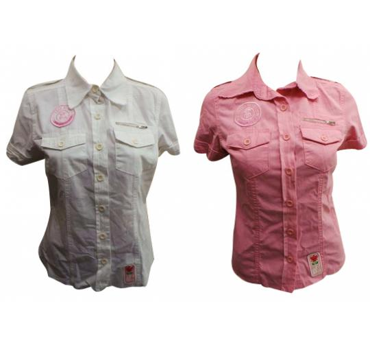 One Off Joblot of 9 Ladies Tokyo Rose Casual Short-Sleeved Blouses Pink & White