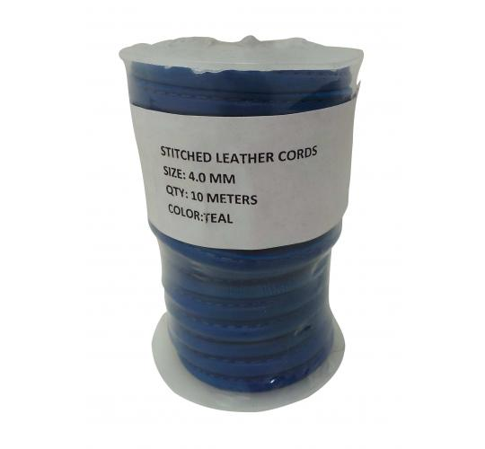 Joblot of 150m of High Quality Teal Stitched Lamb Skin Leather Cords 4mm Wide