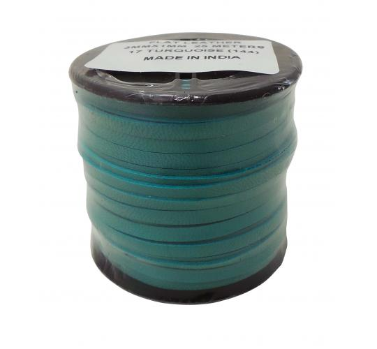 Joblot of 200m of 3mm Wide High Quality Flat Turquoise Leather Lace Rolls