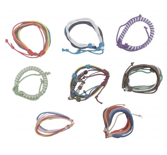 Wholesale Joblot of 50 Assorted Cord & String Bracelets Mixed Colours & Designs