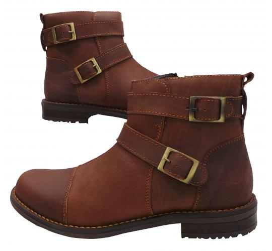 Wholesale Joblot of 5 Mens Tag1 London 100% Leather Brown Buckled Boots 3036