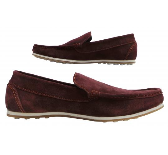 Wholesale Joblot of 5 Mens Tag1 London Suede Leather Slip-On Loathers Maroon