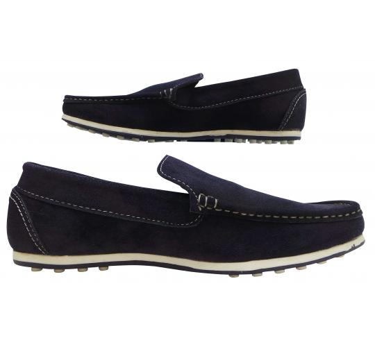 Wholesale Joblot of 5 Mens Tag1 London Suede Leather Slip-On Loathers Navy