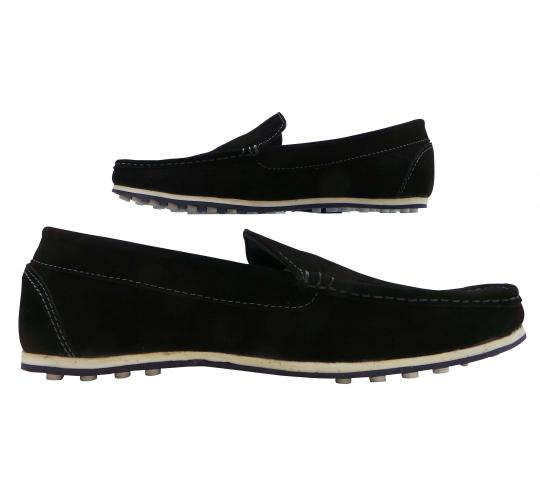 Wholesale Joblot of 5 Mens Tag1 London Suede Leather Slip-On Loathers Black