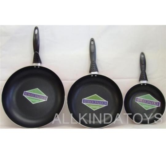set of 3  frying pans in Orange 20,26 and30cm