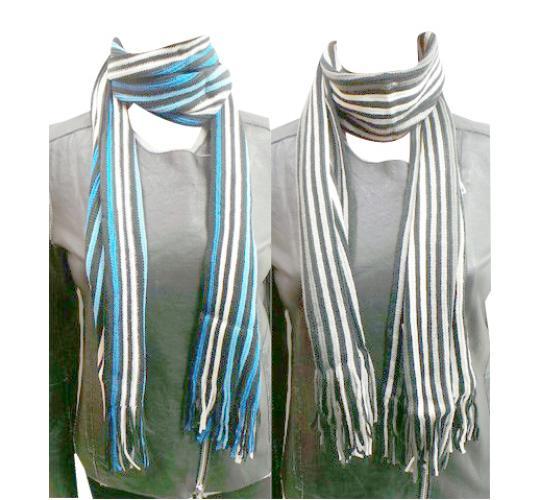 Wholesale Joblot of 24 Ladies Tassel Striped Scarves Three Beautiful Colours