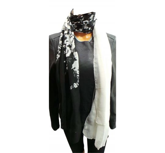 Wholesale Joblot of 24 Ladies Black/White Floral Decorated Scarves