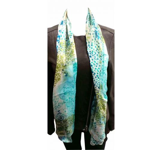 Wholesale Joblot of 24 Ladies Blue/Green Patterned Thin Scarves