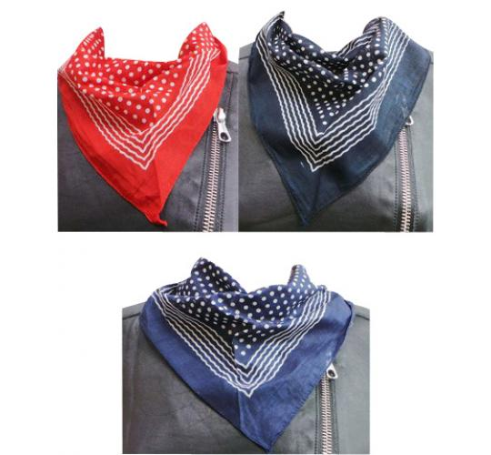 Wholesale Joblot of 24 Unisex Polka Dot Bandanna Neckerchiefs 3 Colours