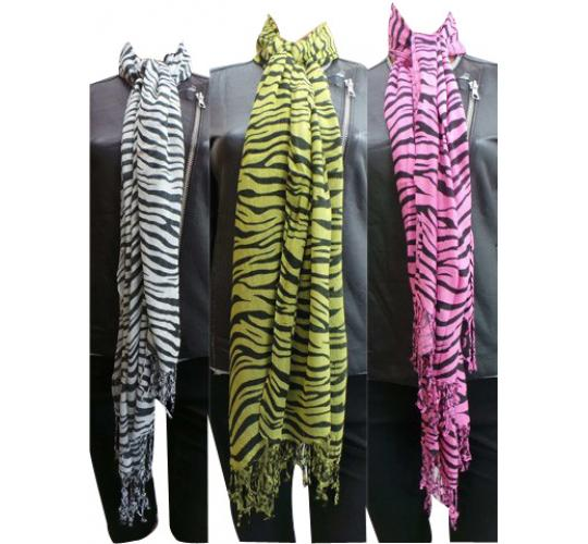 Wholesale Joblot of 24 Ladies Zebra Striped Tassel Scarves White, Pink & Green