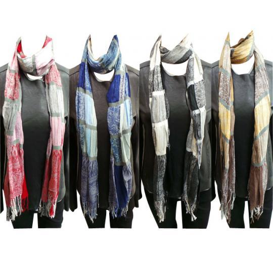 Wholesale Joblot of 24 Ladies Pleated Striped Scarves Multiple Colours