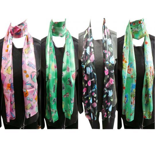 Wholesale Joblot of 24 Ladies Thin Fashion Accessory Print Scarves 4 Designs