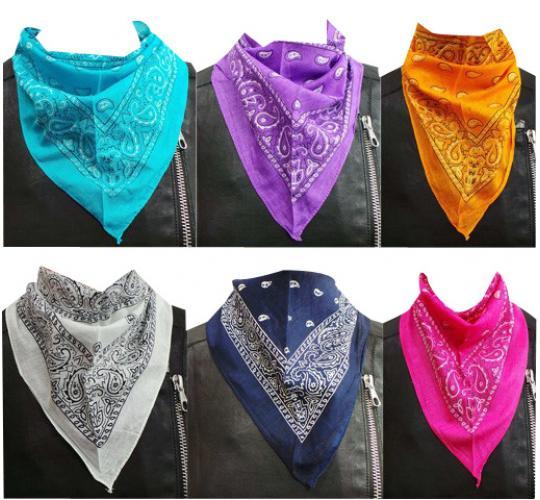 Wholesale Joblot of 24 Ladies Mixed Colour Paisley Neckerchiefs