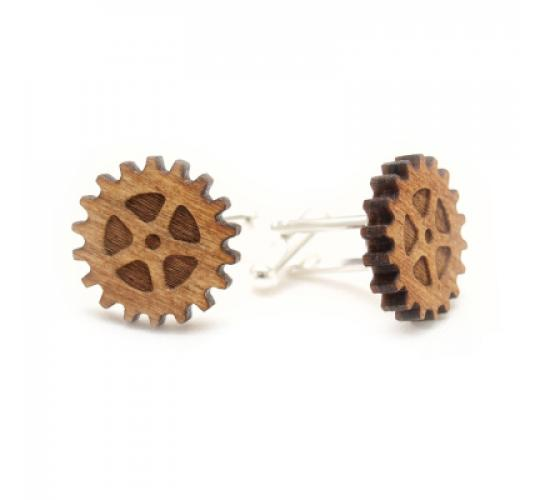 Gear Pattern Birch Wood Cuff Links