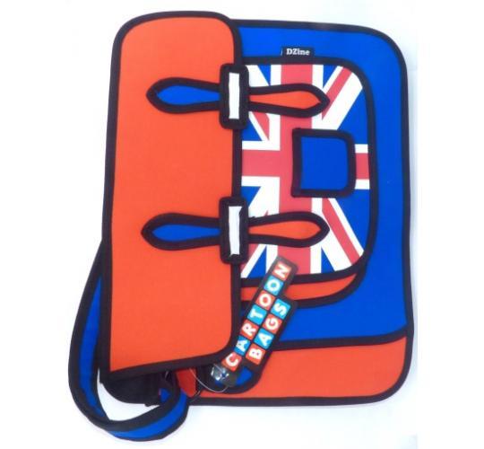Wholesale lot of 24 x Union Jack Messenger Bag 2D Cartoon Style Fashion Satchel
