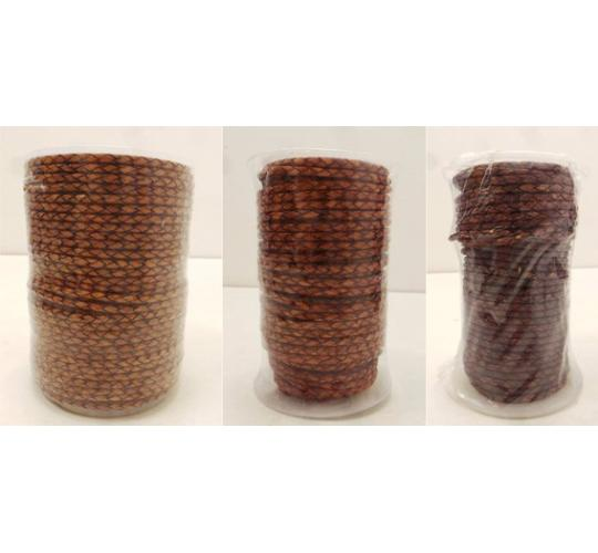 Joblot of 260m of Mixed Brown High Quality Braided Leather Cords 3mm Wide