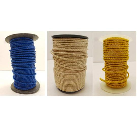 Joblot of 250m of Mixed Colour High Quality Braided Real Leather Cords 3mm Wide