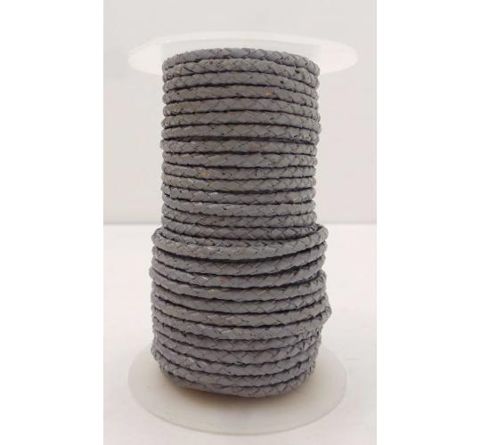 Joblot of 100m of Light Grey High Quality Braided Real Leather Cords 3mm Wide