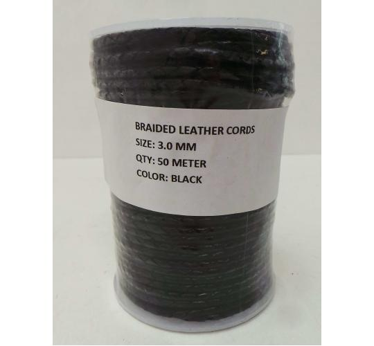 Joblot of 260m of Black High Quality Braided Real Leather Cords 3mm Wide