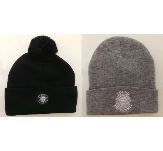Wholesale Joblot of 10 Young Britannia Mens Beanie Hats Black & Grey