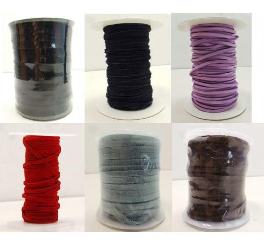 Joblot of 415m of High Quality Suede Leather Cords 4mm Wide - Mixed Colours