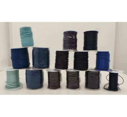 Joblot of 780m of Mixed Blue Round Leather Cords 6 Shades 1mm Wide