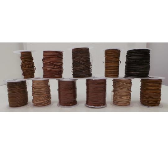 Joblot of 390m of High Quality Mixed Natural Round Leather Cords 1mm Wide