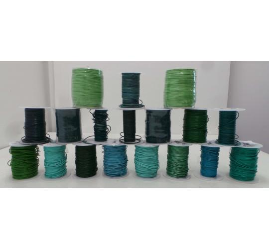 Joblot of 680m of Blue/Green Mixed High Quality Round Leather Cords 1mm Wide